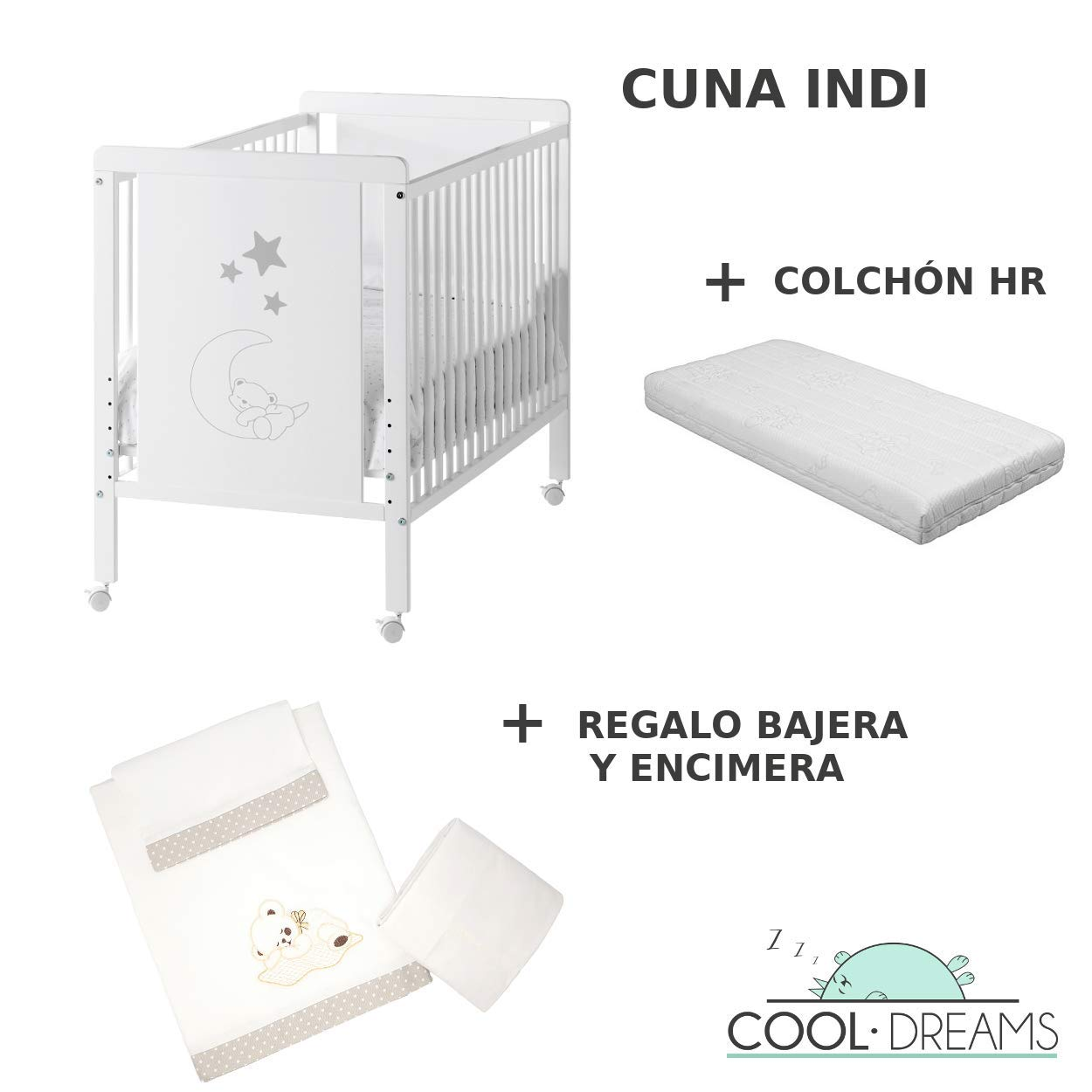 Kit colecho 4 ruedas Cuna colecho de bebe Indi Colch/ón HR