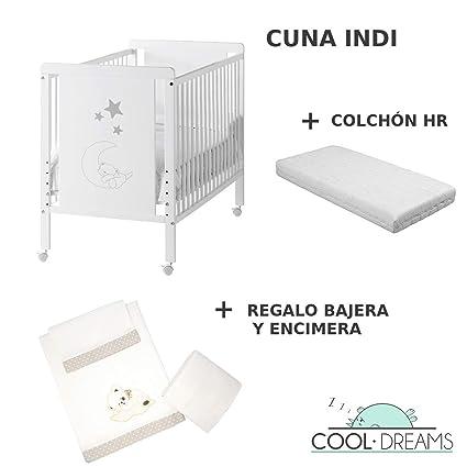 Cuna colecho de bebe Indi + Kit colecho + Colchón HR + 4 ruedas