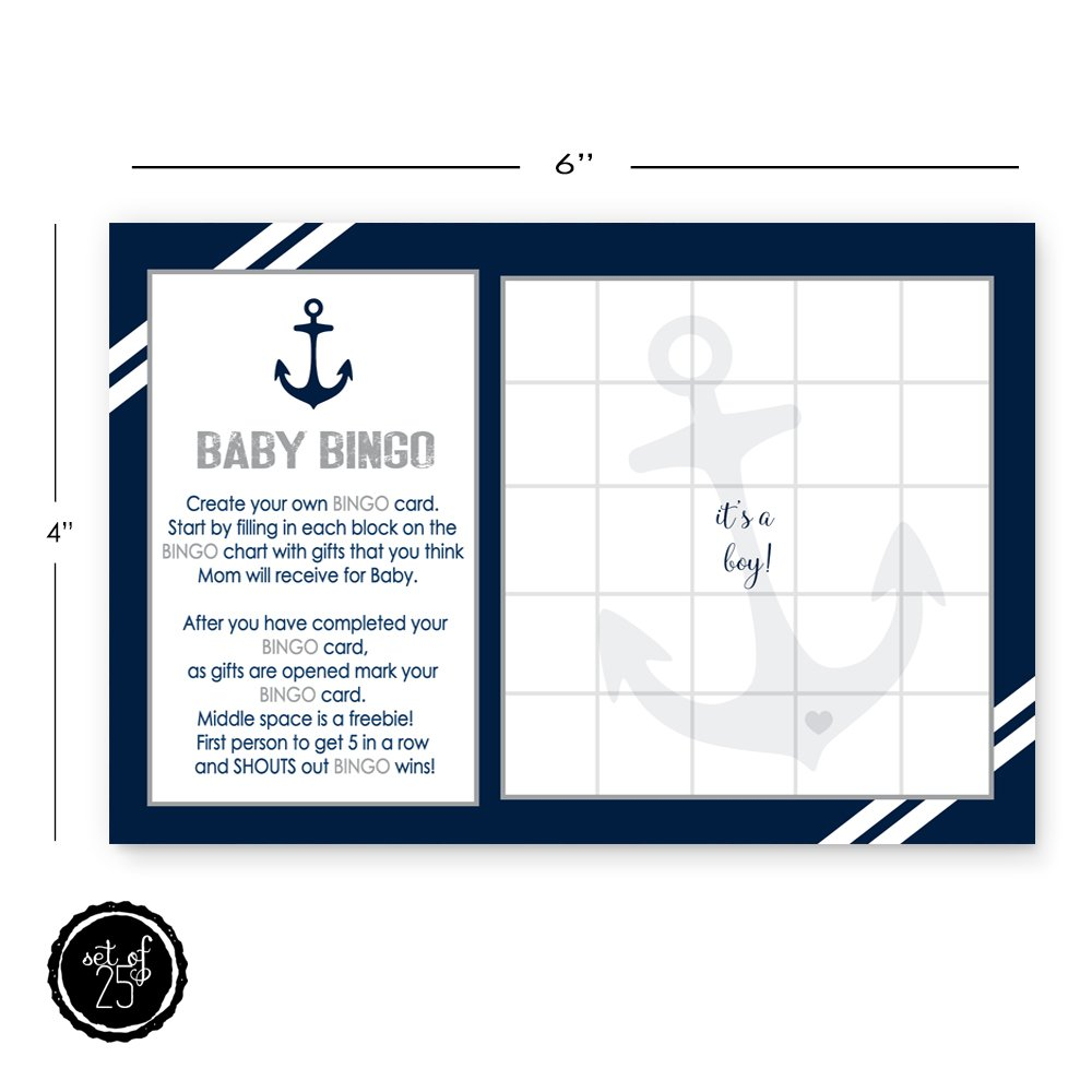 picture about Printable Baby Shower Bingo named Nautical Little one Shower Bingo Video game Playing cards Pack of 25