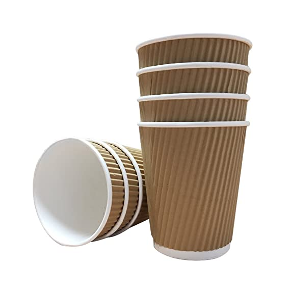 8//10//12//16oz Kraft Ripple Cups Disposable Paper Cups Lids For Hot And Cold Drink