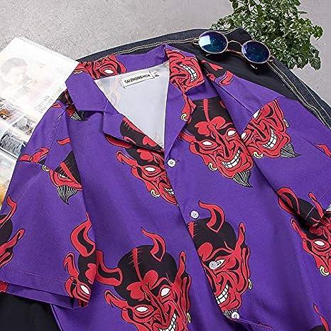 ALISIAM Camisa Hawaiana Hombre, Blusa NavideñA para Hombre de Estampado de Demonio de Casual Manga Larga Suelta Camisas Playa Verano Unisex 3D Estampada Funny Hawaii Shirt: Amazon.es: Ropa y accesorios