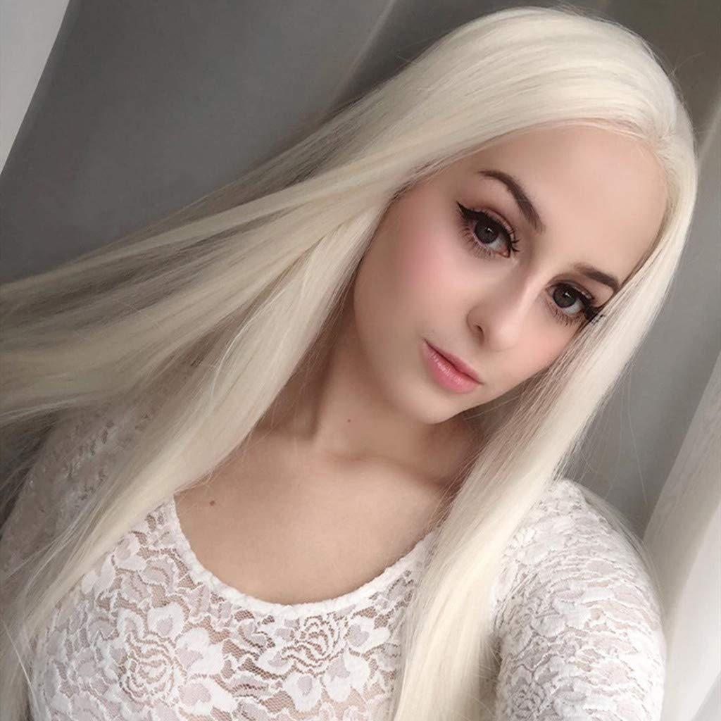 JYS 26 Inches Women Special Natural Long Straight Side Bangs Synthetic Wig Long Straight White Wigs Ladies Women's Full Head Cosplay Anime Costume Party Wig Halloween (White) by JYS (Image #4)