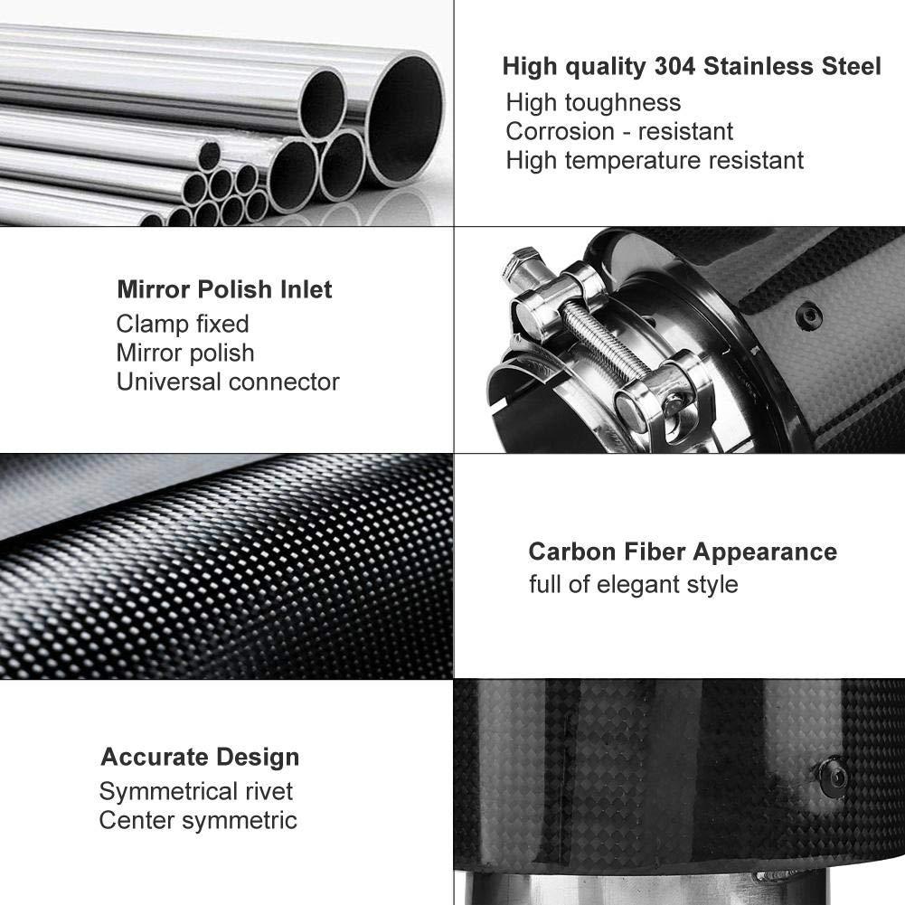 Tubo di scappamento semplice per auto tubo di coda in fibra di carbonio terminale silenzioso modificato in acciaio inossidabile Kimiss