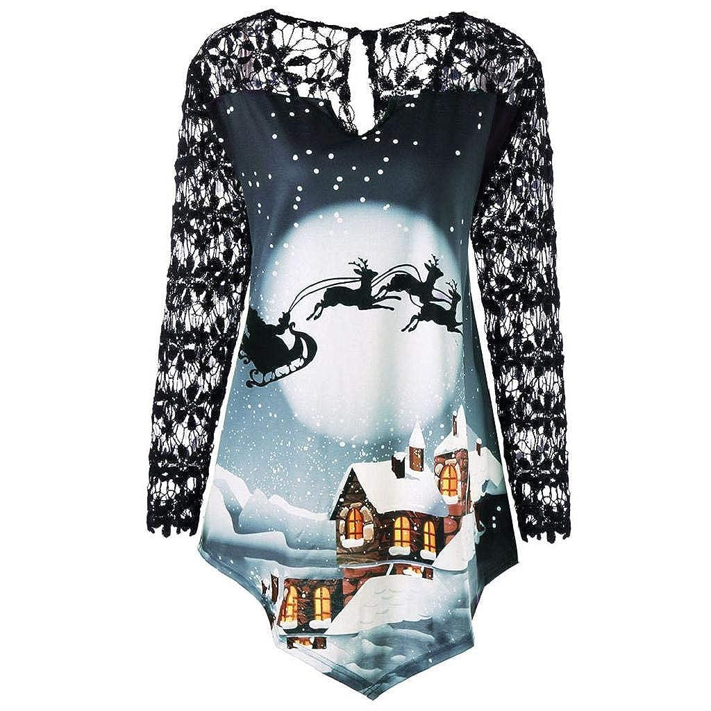 Damen Tops Plus Size Rovinci Weihnachten Drucken Bluse Schulterfrei Tops Hemd Christmas Spitze Patchwork Pullover Festlich Rentier Langarmshirt Longshirt Asymmetrisch Langarm T-Shirt Oberteil Jumper