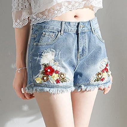 41886c2eed YYJZJW Señora Shorts Sra. Shorts Falda Corta Flores Pantalones Cortos de  Mezclilla Mujer Verano Cintura