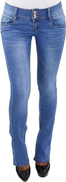 Damen Low Rise Bootcut Schlaghose Jeans Hose Strech Hüft Hüftjeans Blau