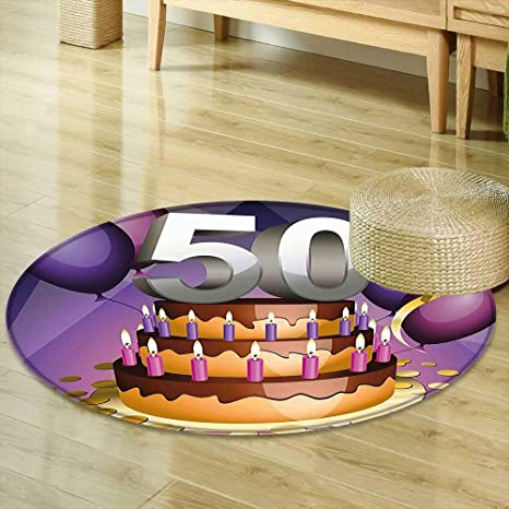 Mikihome Round Rugs For Bedroom 50th Birthday Decorations Creamy Cake With Many Candles And Numbers Balloons