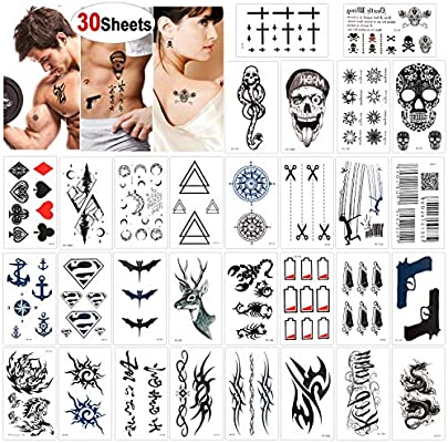 Konsait 30 Sheets Temporary Tattoos For Men Women Adult Fake Tattoo Body Art Stickers Waterproof Black Tiny Temporary Tattoo For Hand Neck Wrist Arm Shoulder Chest Back Legs Dragon Anchor Lion Skull