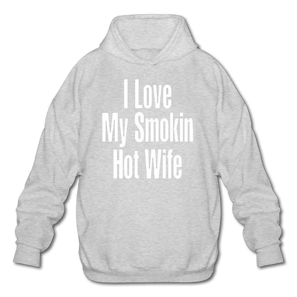 Mens Long Sleeve Cotton Hoodie I Love My Smokin Hot Wife Sweatshirt