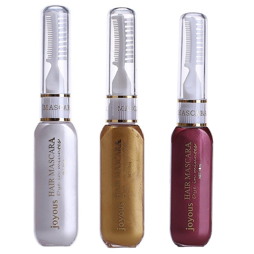 Professional Hair Dye Temporary Hair Color Stick Non-toxic Salon Diy Hair Dyeing Mascara (White+Gold+Wine Red)