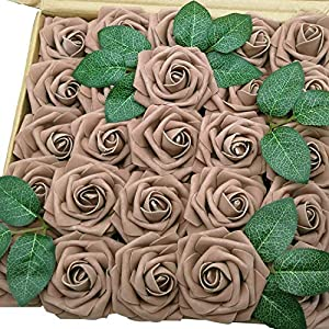 J-Rijzen Jing-Rise Brown Artificial Flowers 50pcs Fake Roses with Stem Centerpieces Flower for Bridal Shower Wedding Bouquet Baby Shower Floral Decorations(Brown/Taupe) 62