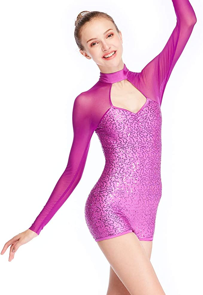 Women/'s Sequins Rhythmic Ballet Gymnastics Dance Wear Leotard Unitard Bodysuit