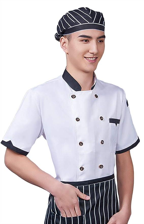 WYCDA Camisa de Cocinero Cocina Uniforme Manga Corta Transpirable Impermeable Antiincrustante Disfraz de Chef Protección del Medio Ambiente Unisex,Whiteshortsleeves,L: Amazon.es: Hogar