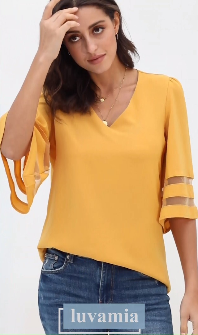 luvamia Women's Casual V Neck Blouse 3/4 Bell Sleeve Mesh Panel Shirts Loose Top 6