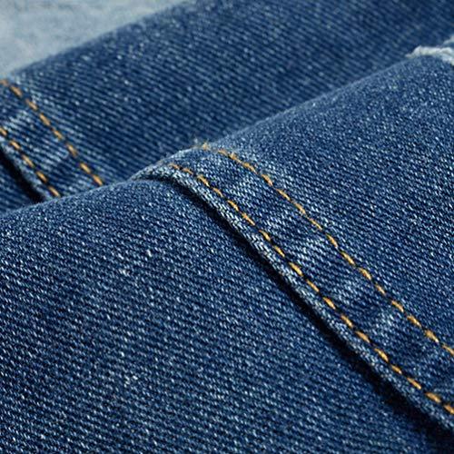 Solapa Prendas Exteriores Hombres Vestir de Sin Azul de Mezclilla de Kairuun Delgado Jeans Casual Chaleco Chaqueta Mangas U0wzWFqC