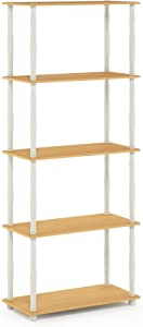 Furinno Turn-N-Tube 5-Tier Multipurpose Shelf Display Rack, Classic, Beech/White