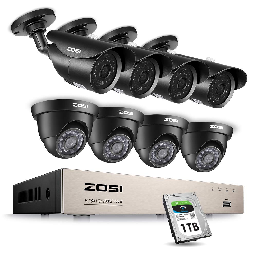 ZOSI 8CH 1080P Security Camera System HD-Tvi Video Dvr Recorder with (8) 2.0MP Bullet and Dome Weatherproof CCTV Cameras, Motion Alert, Smartphone, Pc Remote Access, 1TB Hard Drive by ZOSI