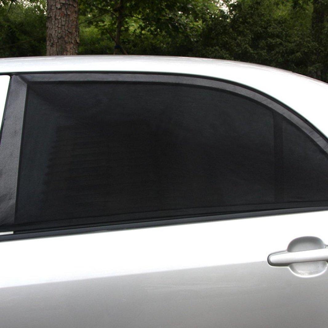 Iuhan Car Window Shade 1PC Car Rear Window UV Mesh Sun Shades Blind Kids Children Sunshade Blocker Black Stretched Size Approx 100cm x54cm