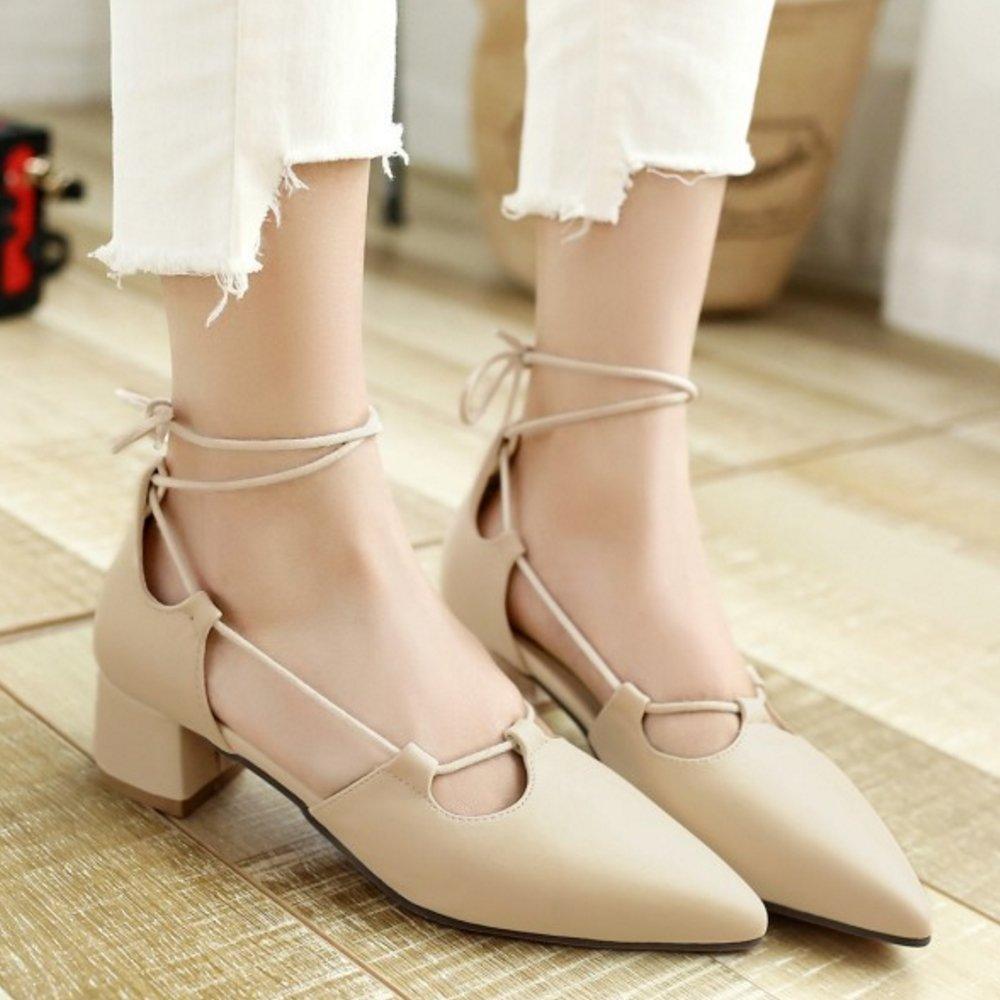 ef7cdc98 TAOFFEN Mujer Casual Tacon Medio Ancho Cordones Punta Abierta Boca Baja  Zapatos £š43 EU, Beige£©: Amazon.es: Zapatos y complementos