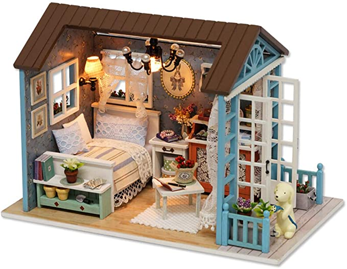 First Dollhouse Mini Dollhouse Roombox Ada Unassembled Kit 1:12 Scale Easy DIY Craft MDF