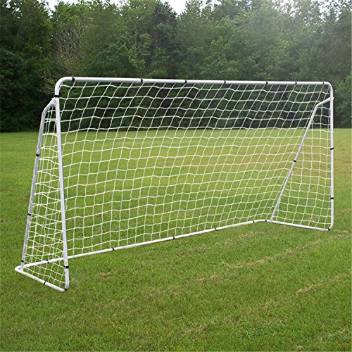 F2C Football Post Soccer Goal Target Net 12' x 6' Football Shooting Training Aid Ultimate Backyard Outdoor Kids Official Soccer Goal, Steel Post Frame (12' x 6' White)