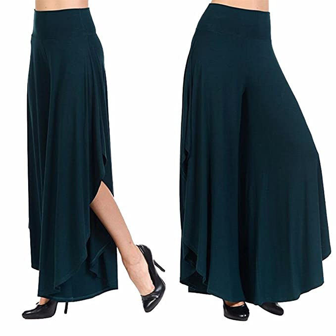 e05683fded15a Image Unavailable. Image not available for. Color  KIWI RATA Women s  Chiffon Split Flared Skirt Pants Palazzo Boho Wide Leg High Waist Loose  Trousers