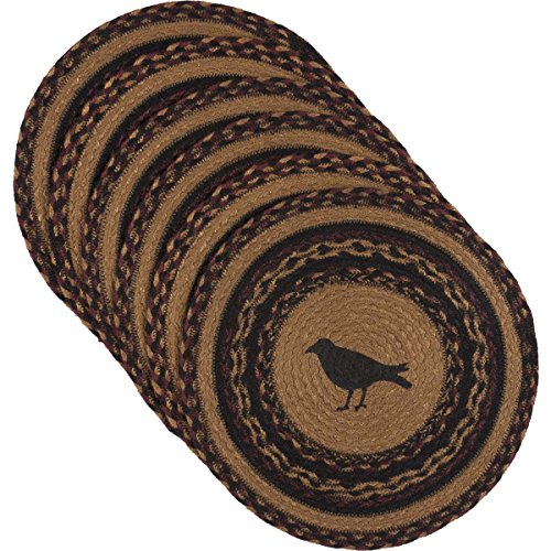 (VHC Brands Primitive Tabletop & Kitchen - Heritage Farms Tan Crow Round Jute Tablemat Set of 6,)