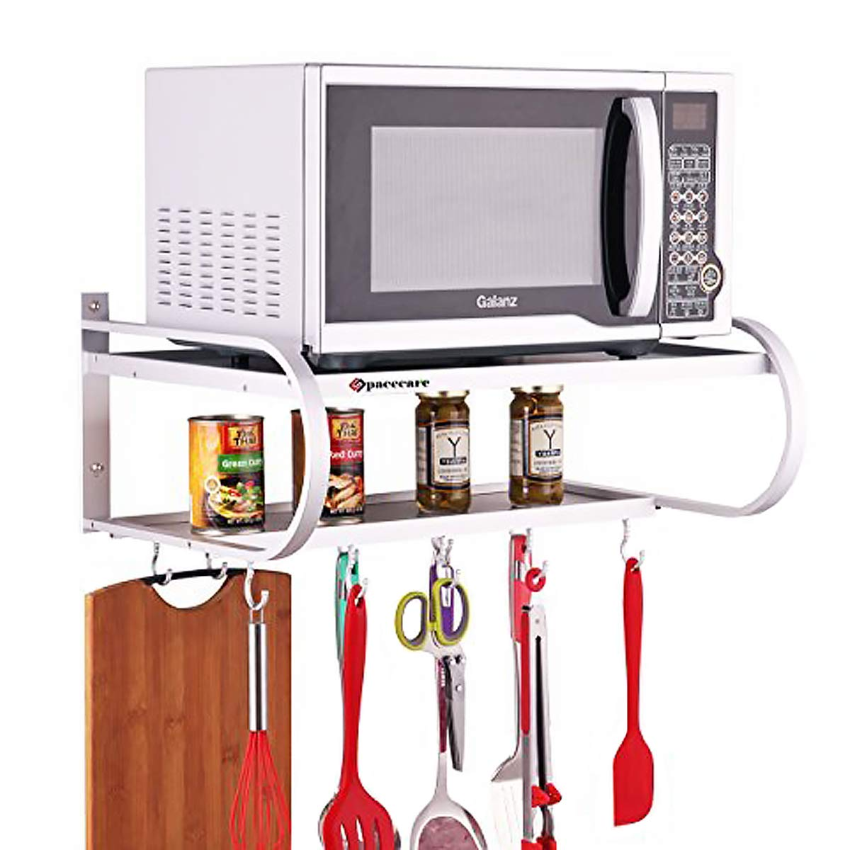 SPACECARE Double Bracket Alumimum Microwave Oven Wall Mount Shelf With Removable Hook-MSHF003-1