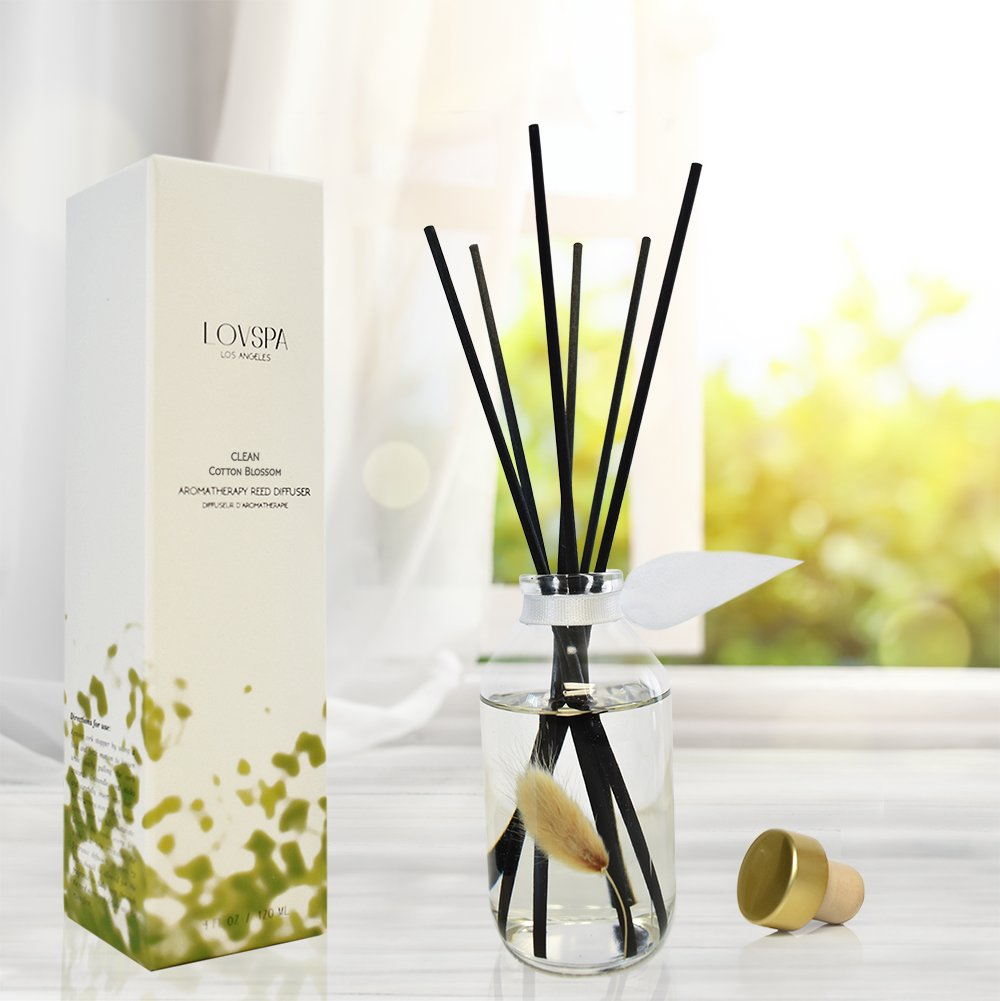 LOVSPA Clean Cotton Blossom Essential Oil Reed Sticks Diffuser Set | Airy Green Floral Powdery Woods, Sun Dried Linen & Mandarin Blossom