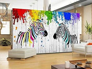Yosot 3D Tapete Wohnzimmer Schlafzimmer Wandbild Aquarell Zebra Einfaches  3D Holz  Hintergrundbild 300Cmx210Cm