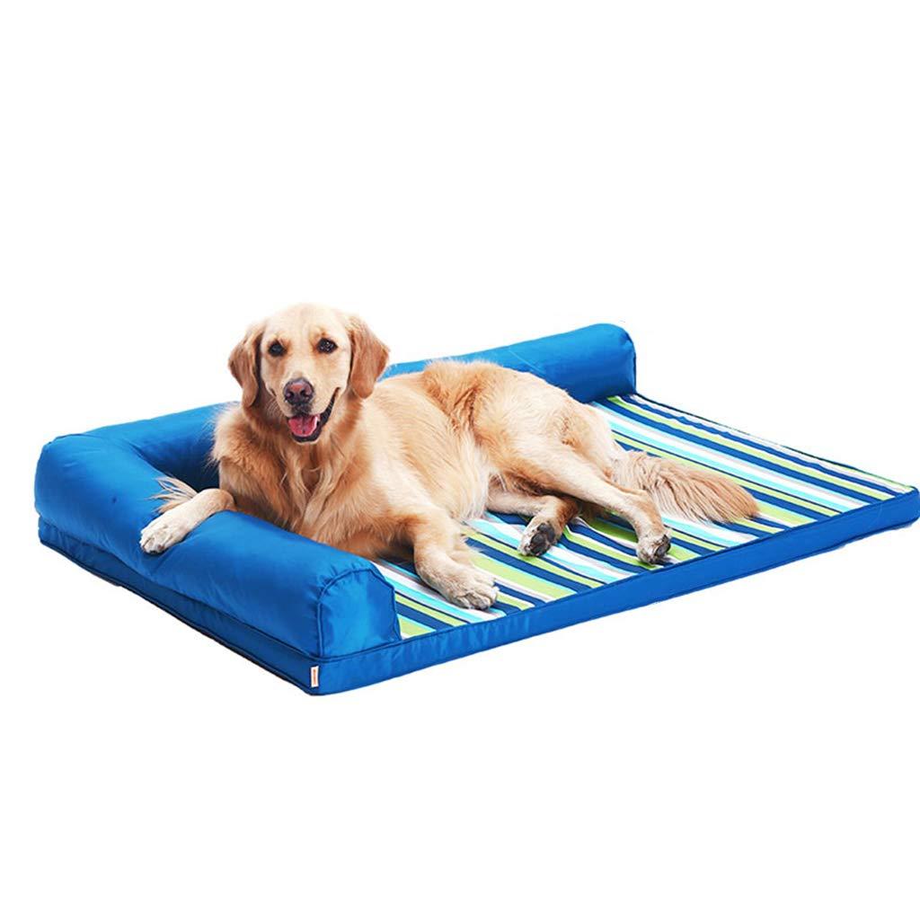 60×45cm Qz Waterproof Oxford Cloth Dog Bed bluee Indestructible Orthopedic Pet Sofa, Small Medium Large (Size   60×45cm)