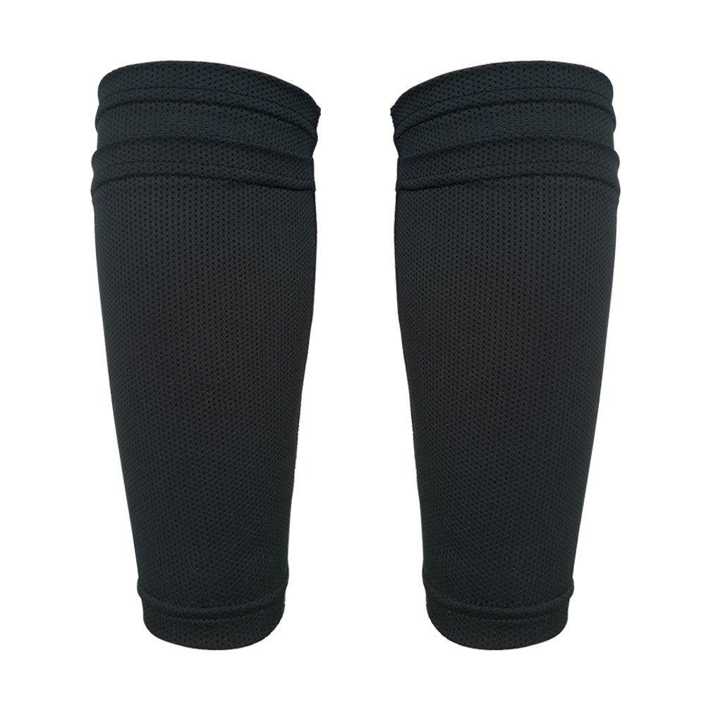 Senston Teenager Soccer Shinパッドダブルデッキソックス固定スリーブ/ Shin Guards B06Y45DGZT One Size|Black-1 PAIR Black-1 PAIR One Size