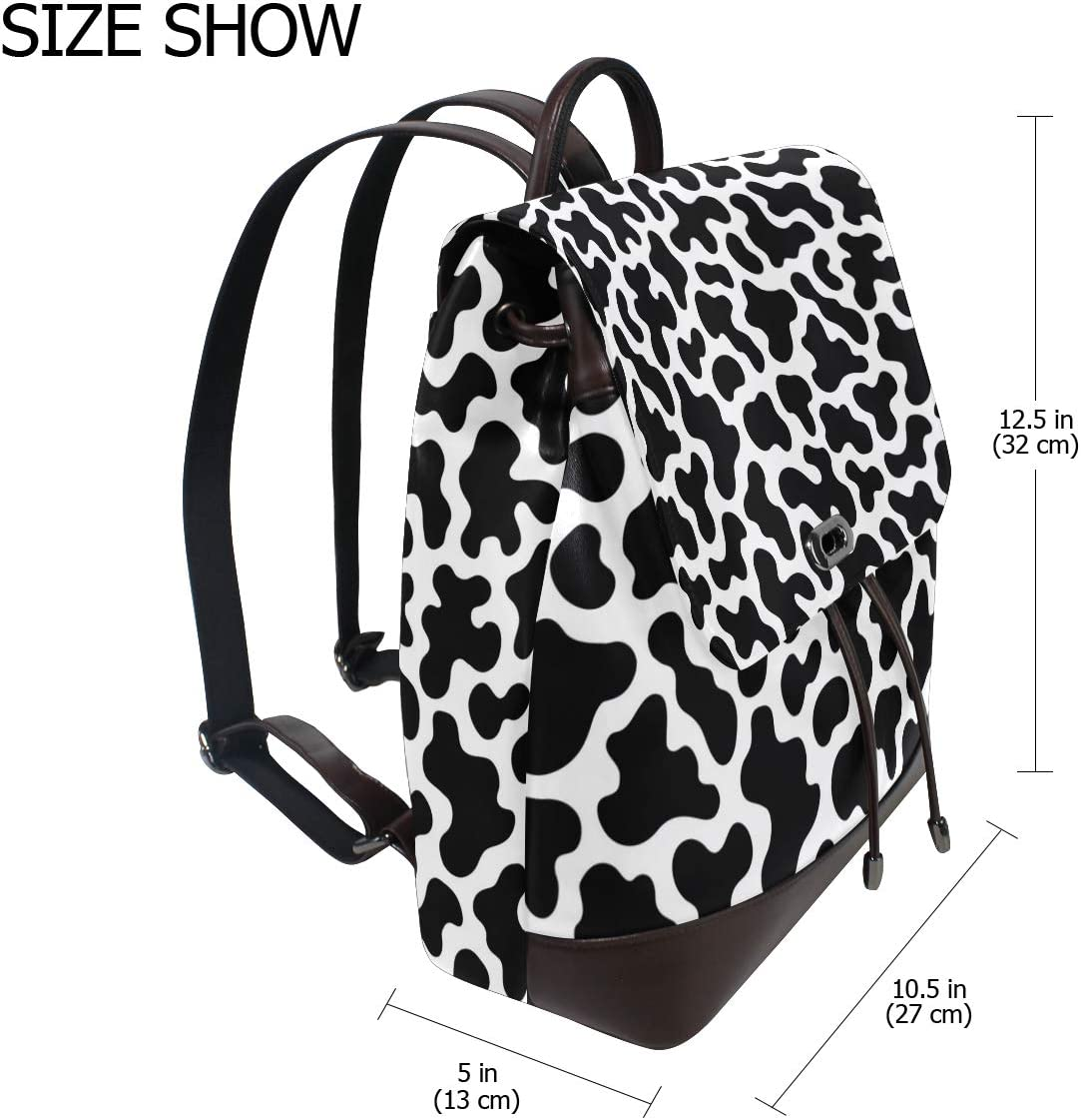 Unisex PU Leather Backpack Animal Skin Cow Spots Print Womens Casual Daypack Mens Travel Sports Bag Boys College Bookbag