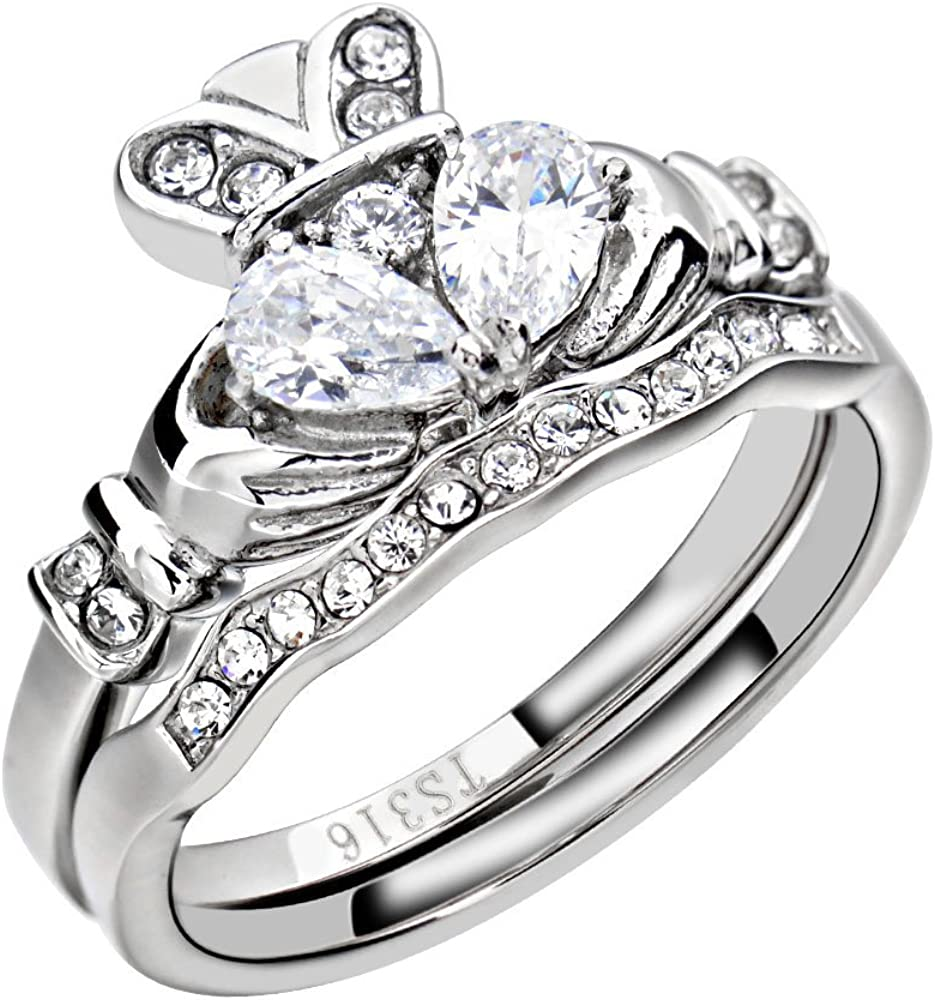 Amazon Com Flamereflection Stainless Steel Claddagh Wedding Ring
