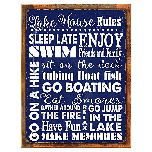 Wood-Framed Lake House Rules Navy Blue Metal Sign, Rustic Getaway, Family, Rules To Live By, Cabin on reclaimed, rustic wood