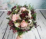 Big Ivory Burgundy Blush Pink Green Cypress Cedar Rose Bouquet Sola Flowers Burlap Lace
