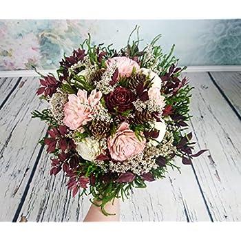 amazon   wedding bouquets bridal silk flowers burgundy