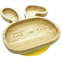 Baby Toddler Bunny Suction Plate, Stay Put Feeding Plate, Natural Bamboo (Yellow)
