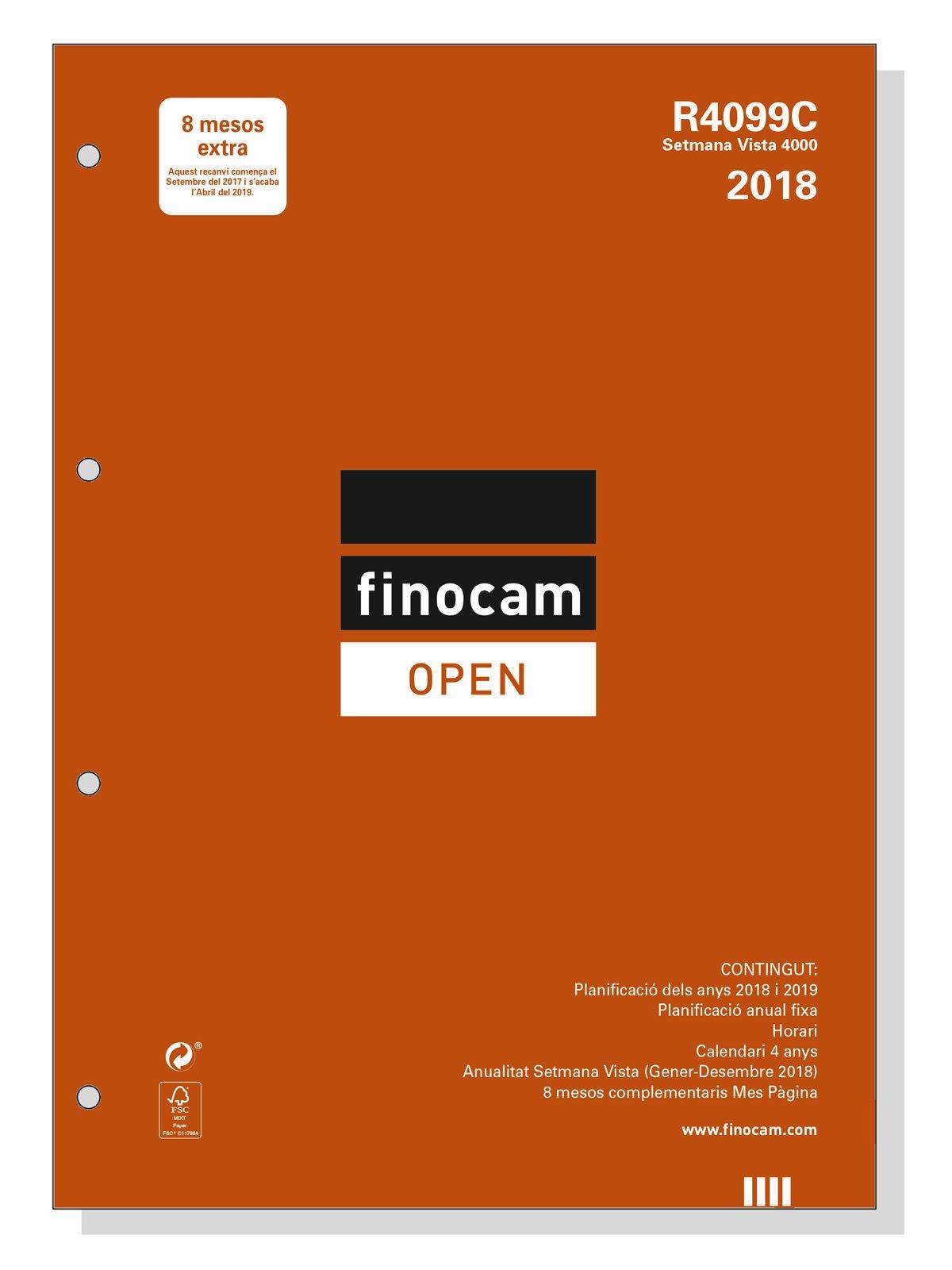 Finocam Open R4099C - Recambio anual 2018, catalán, 210 x 297 mm, 80