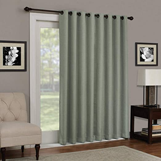 Amazon.com: 1pc 84 Sage Solid Color Blackout Sliding Door Curtain ...