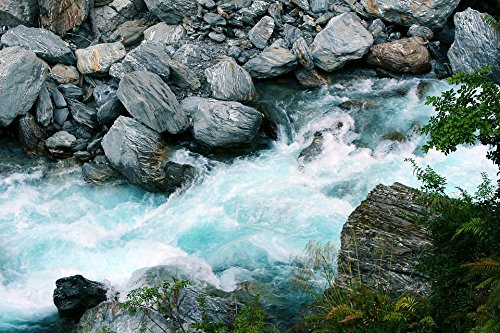 Natural Stone Waterfalls - Home Comforts LAMINATED POSTER Streams Stone Waterfall Natural New Zealand Water Poster 24x16 Adhesive Decal