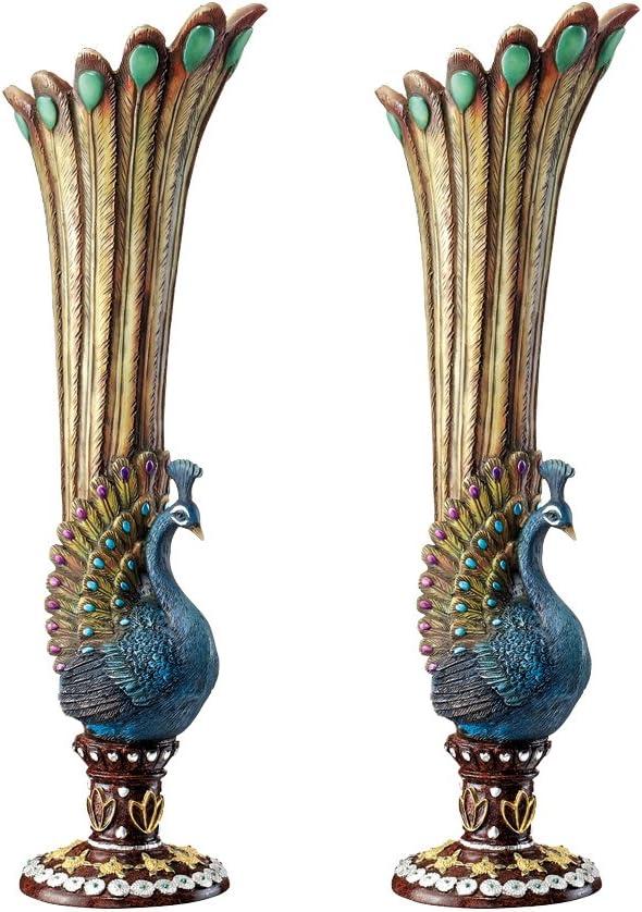 Design Toscano Peacock Bud Vase: Set of Two
