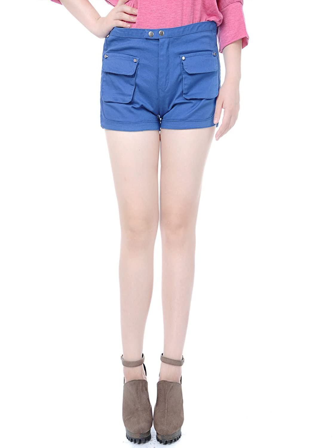 Anna-Kaci S/M Fit Blue Sailor Inspired Pocket less Snap Closure Casual Shorts