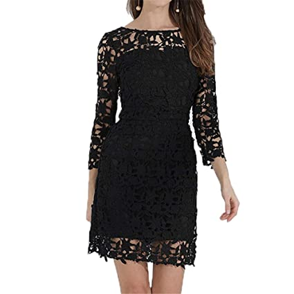 Women Summer Wrap Dress Women Floral Lace Dress 34 Sleeve