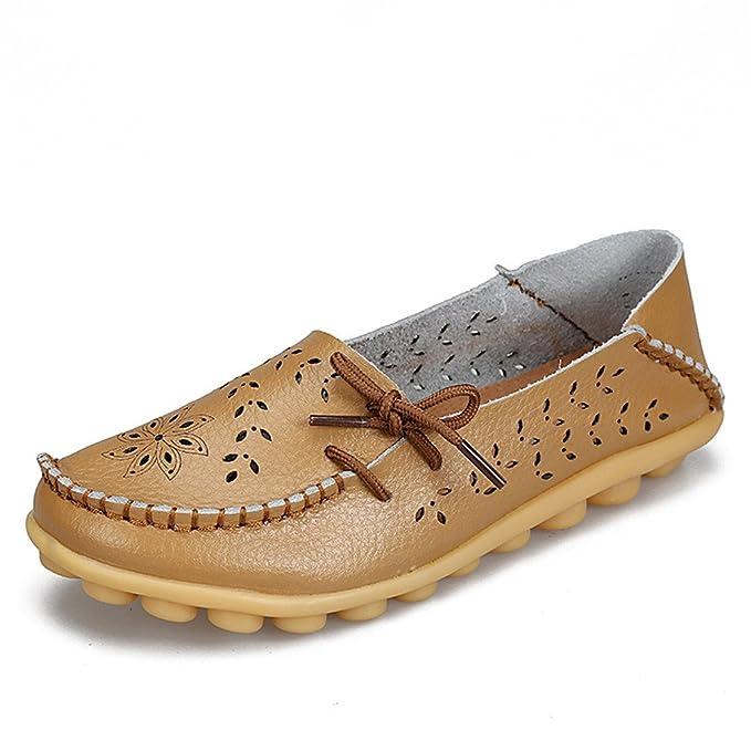 Zapatos de mujer de cuero genuino de mujer Mocasines de mujer Slip-On pisos femeninos Mocasines Zapatos de conducción de damas recortes madre calzado Khaki ...