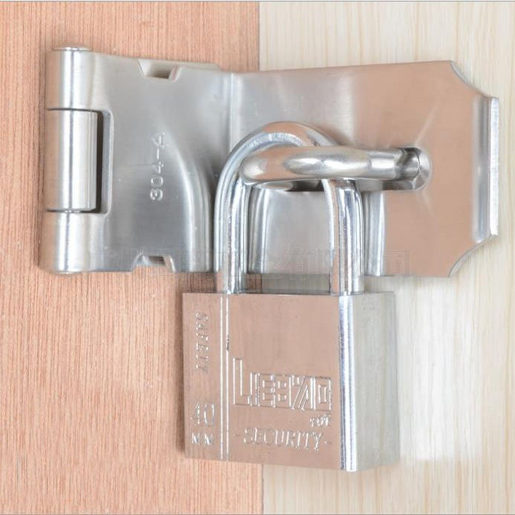 Haidong Thicken 304 Stainless Steel 90 Degree Door Buckle Clasp Anti-theft Wooden Door Hasp Lock (5 inch: L shape size: 55mm75mm) by Haidong (Image #2)