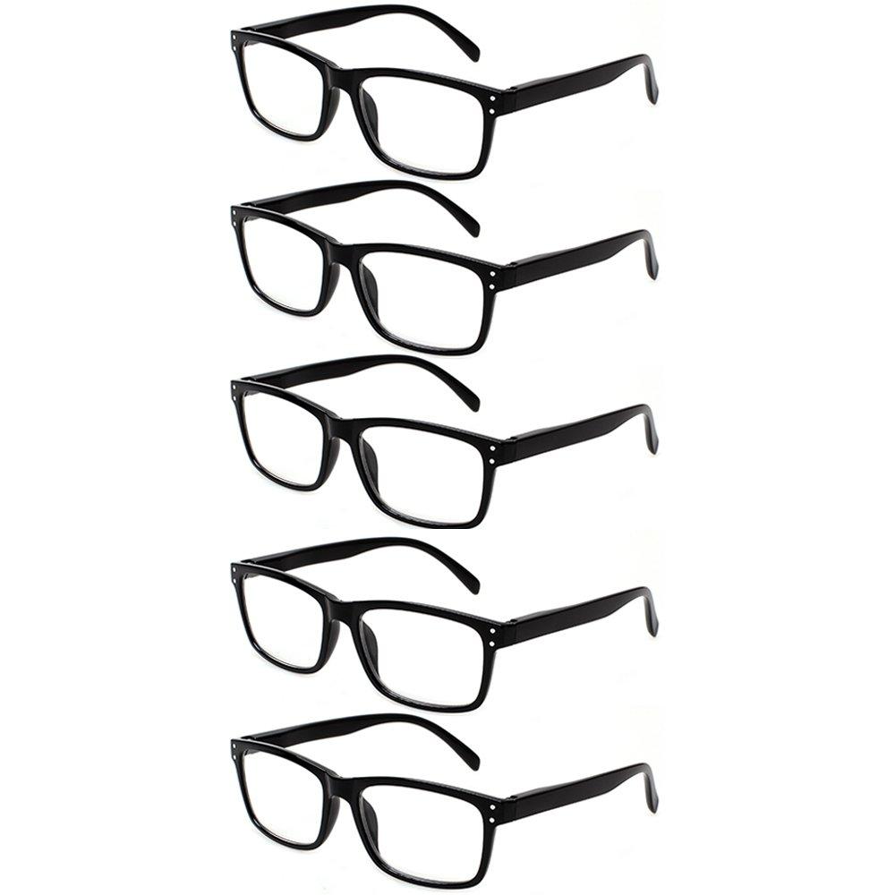 5 Pack Unisex Vintage Readers Spring Hinges Rectangular Reading Glasses Includes Sun Readers 0.50)