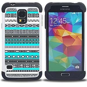 """SAMSUNG Galaxy S5 V / i9600 / SM-G900 - 3 en 1 impreso colorido de Altas Prestaciones PC Funda chaqueta Negro cubierta gel silicona suave (Patrón azul del trullo de nativos americanos"""")"""