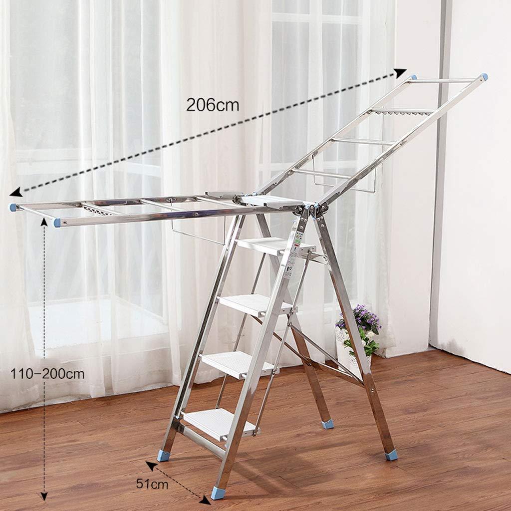 ZXW 乾燥ラック- 多機能ステンレス鋼家庭用折りたたみ床乾燥ラックはしご (色 : Silver B, サイズ さいず : 110x206cm) B07KPKZBYD Silver B 110x206cm