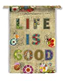 Life Is Good Patchwork Burlap House Flag